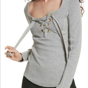 Free People Square Neckline Long Sleeve Size L